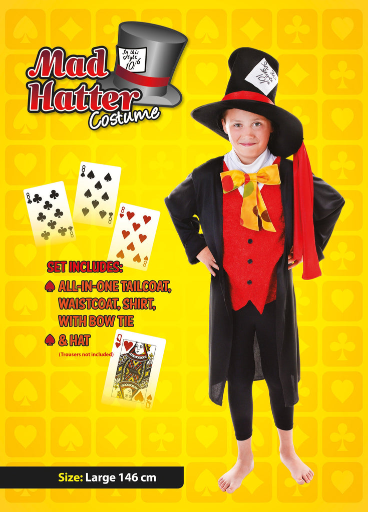 Mad Hatter 146cm Childrens Fancy Dress Costume Boys 146cm Black Red