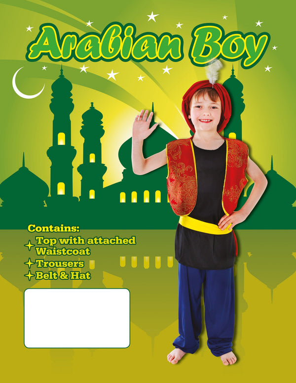 Arabic Boy Childrens Fancy Dress Costumes Boys One Size Red Black