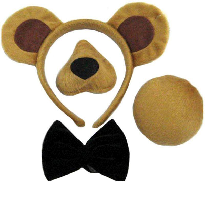 Bear Sets (Ears, Nose, Tail + Bow Tie. (Instant Disguises) - Unisex - One Size