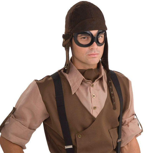 Mens Steampunk Aviator Kit. Brown Instant Disguises - Male - One Size Halloween Costume