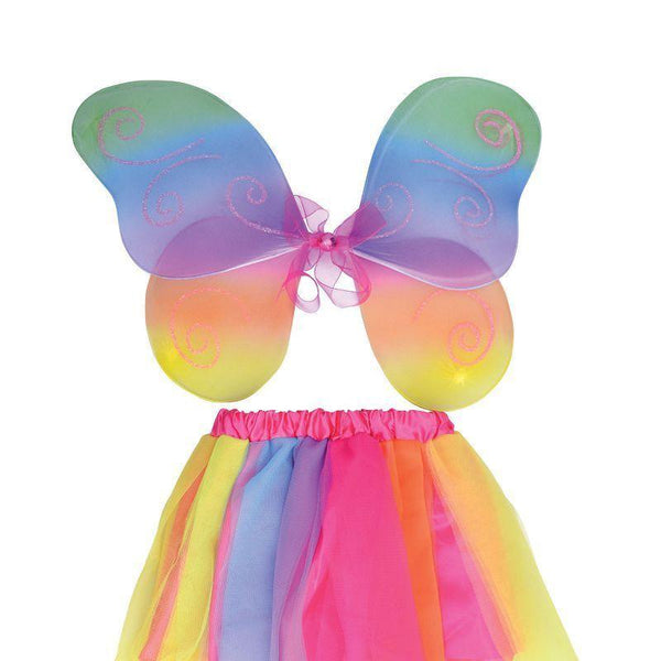 Girls Fairy Wings + Tutu Set. Rainbow (Instant Disguises) - Female - One Size Halloween Costume
