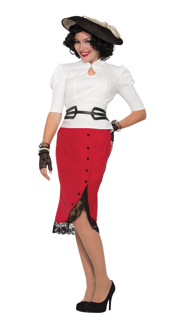 1940's Pencil Skirt Red Adult Costumes Female One Size