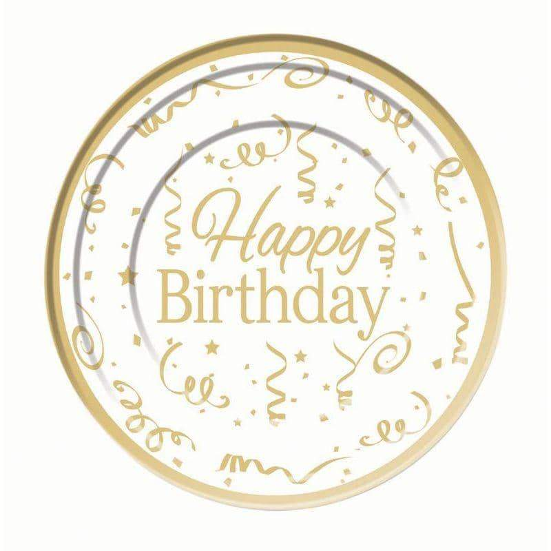 Gold Happy Birthday Plate Plastic (10 pack) 26cm