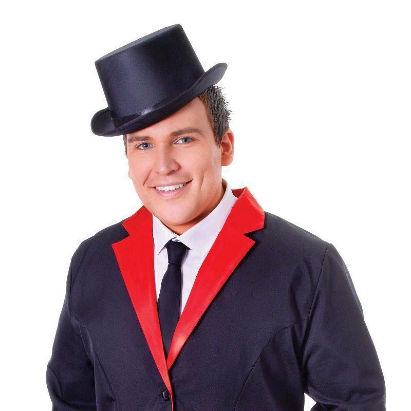 Mens Tailcoat. Black/Red. (Adult Costumes) Male One Size-Adult Costumes > Generic Mens Costumes-MAD USA