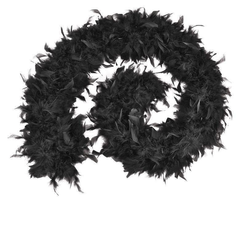 Womens Feather Boa 80g. Black Budget. (Costume Accessories) - Female - One Size Halloween Costume-Costume Accessories-MAD USA