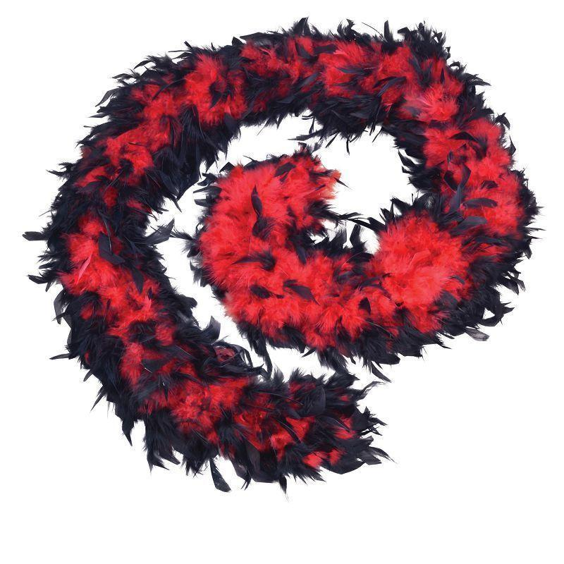 Womens Feather Boa 80g. Red/Black. (Costume Accessories) - Female - One Size Halloween Costume-Costume Accessories-MAD USA
