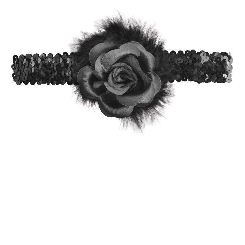Womens Flapper Headband + Rose Boa. Black. (Costume Accessories) - Female - One Size Halloween Costume-Costume Accessories-MAD USA