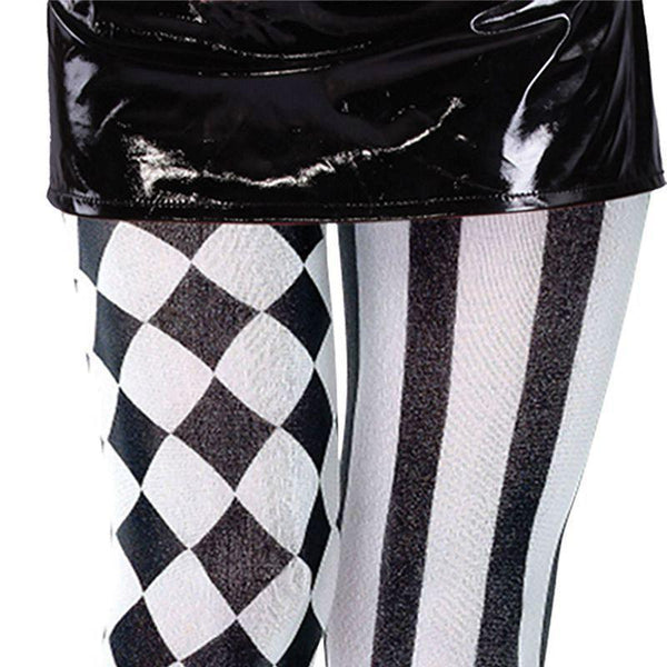 Womens Harlequin Tights. Black/White. (Costume Accessories) - Female - One Size Halloween Costume-Costume Accessories-MAD USA