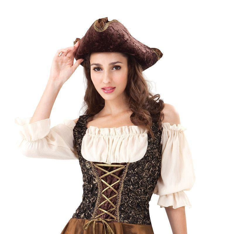 Womens Pirate Gold Rose. (Adult Costumes) - Female - UK Size 10-14 Halloween Costume-Generic Costumes > Generic Mens Costumes-MAD USA