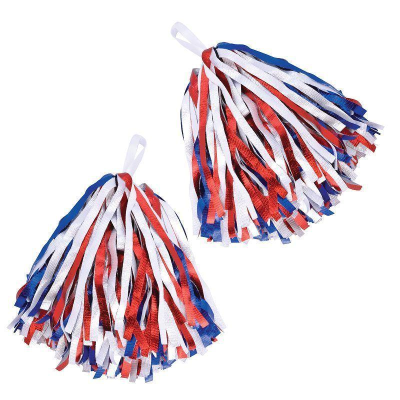 Womens Pom Poms. Red/White/Blue. (Costume Accessories) - Female - One Size Halloween Costume-Costume Accessories-MAD USA