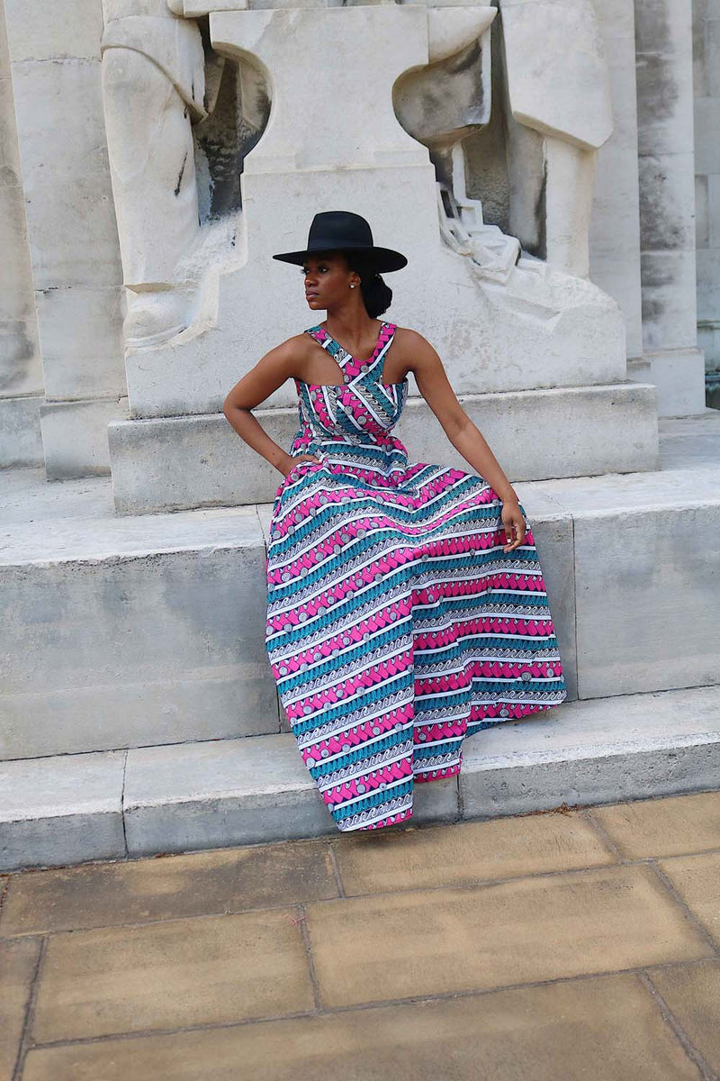 SERENA MULTI COLOURED STRIPED MAXI DRESS