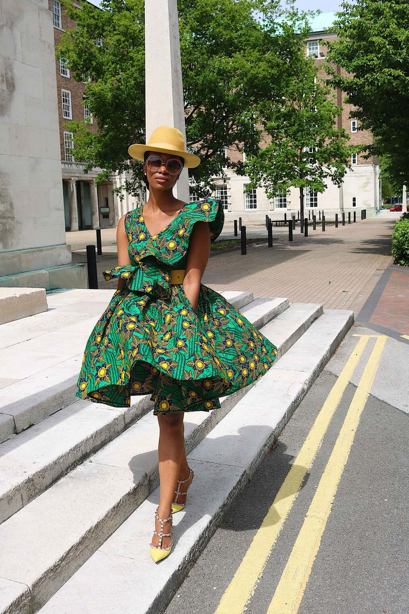 TAYTU GREEN AND YELLOW AFRICAN PRINT PEPLUM SKATER DRESS