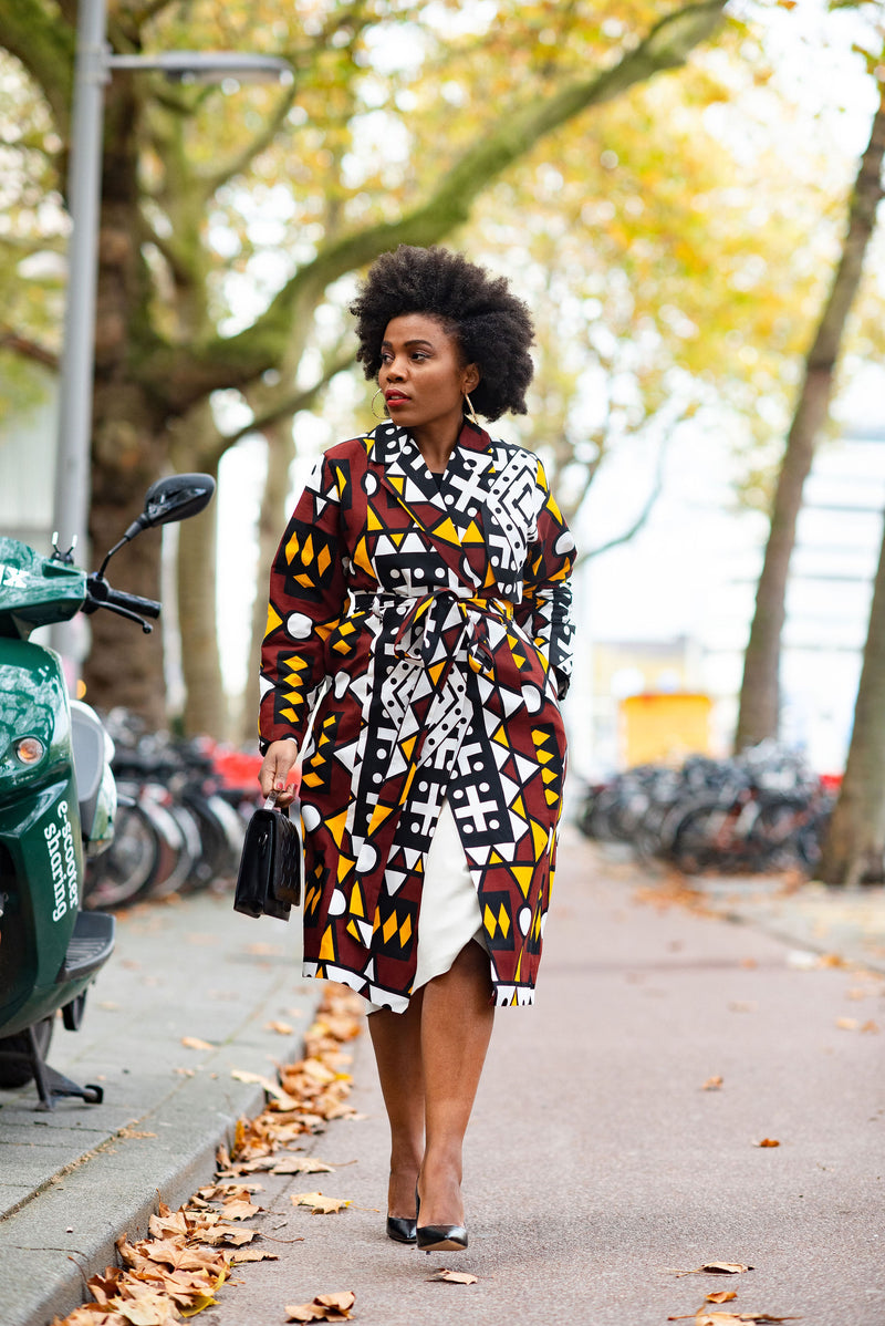 PARIS LONG SLEEVE AFRICAN PRINT TRENCH COAT