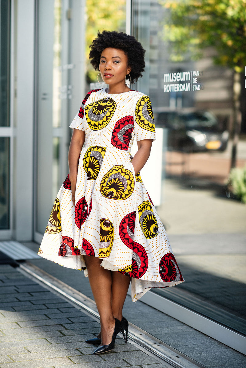 ANJOLA HIGH-LOW DRESS