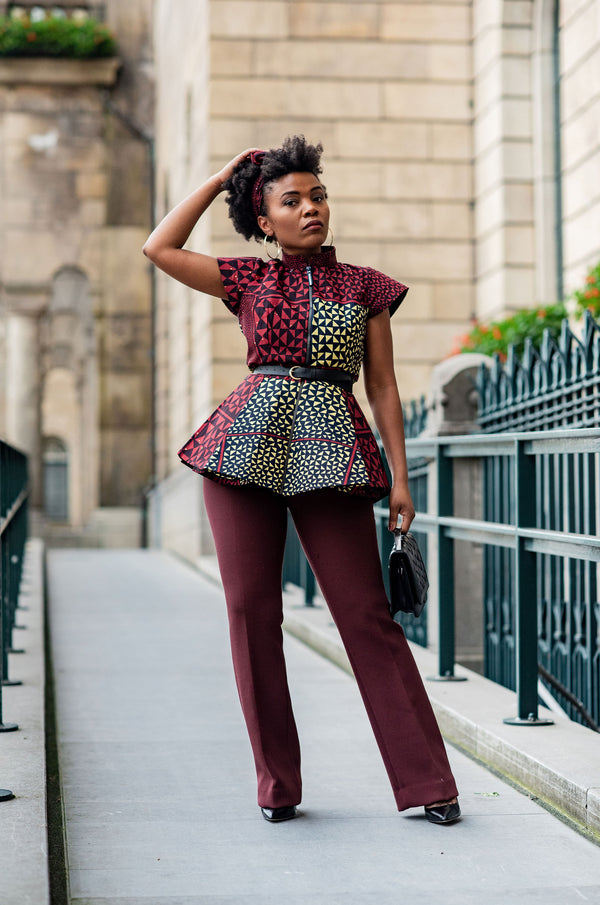 TIWA BURGUNDY PEPLUM TOP