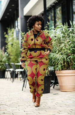 ASANTE AFRICAN PRINT HOODIE BOMBER JACKET AND BOTTOM