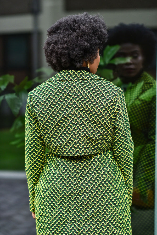 PARIS GREEN SCALES AFRICAN PRINT TRENCH COAT