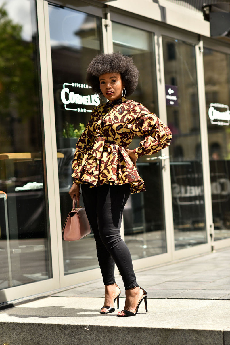 SIMI LONG SLEEVE PEPLUM TOP