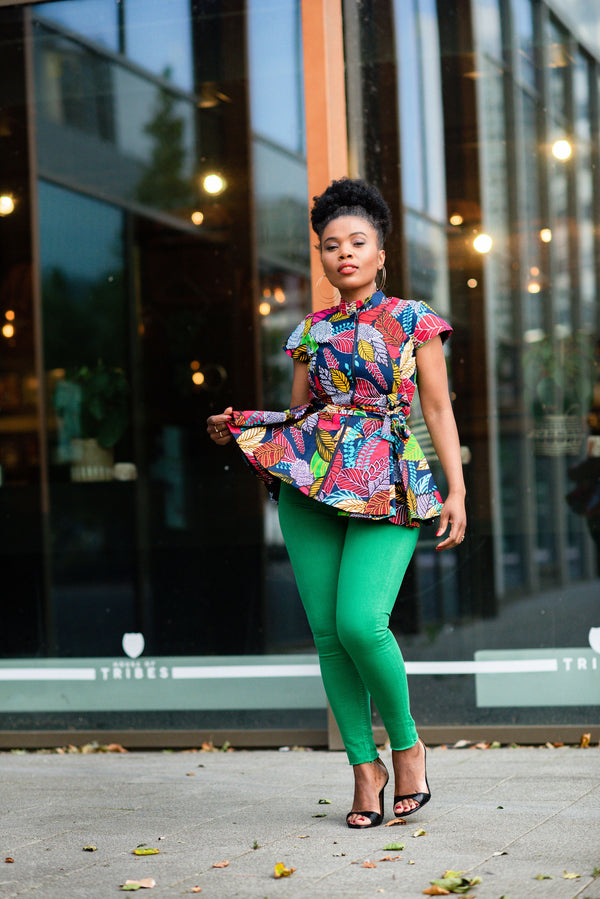 TIWA MULTI-COLOURED PEPLUM TOP