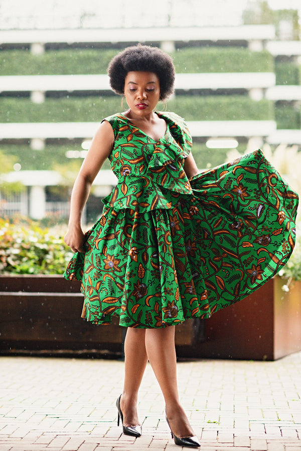 LOLA GREEN AND BROWN PEPLUM SKATER  DRESS