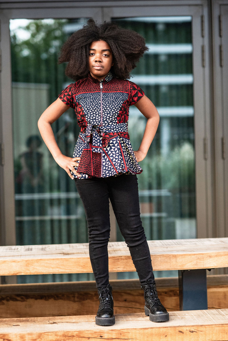 MINI TIWA BURGUNGY PEPLUM TOP