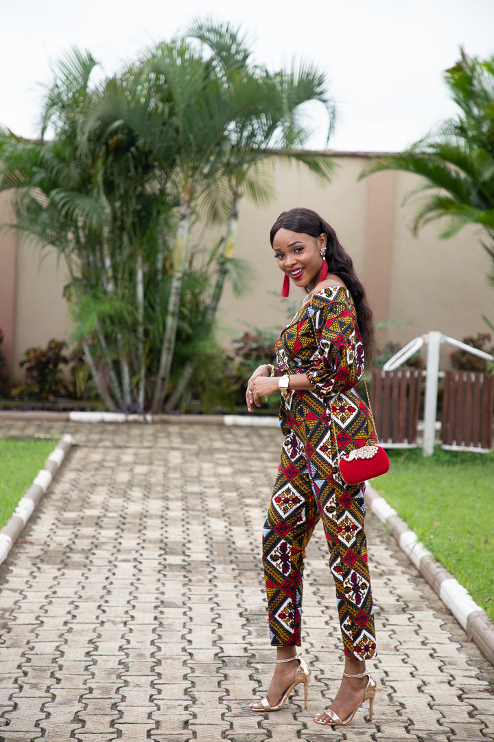 ODETTE AFRICAN PRINT POWER SLEEVE OFF SHOULDER JUMPSUIT