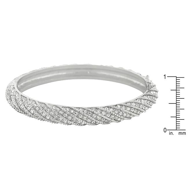 Twisting Clear Crystal Bangle Bracelet