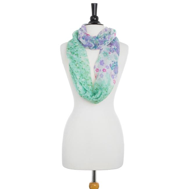 Sora Mint Floral Meadow Print Infinity Scarf
