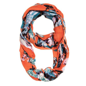 Orange Aria Floral Infinity Scarf