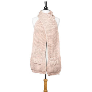 Pink Mona Knit Bow Pocket Scarf