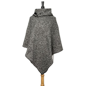 Black Heathered Knit Poncho