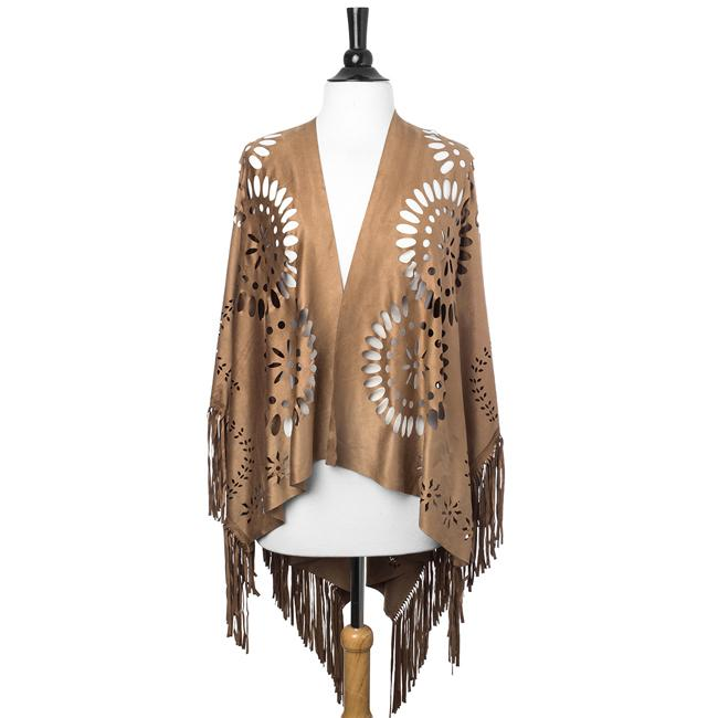 Taupe Shawl With Cutouts
