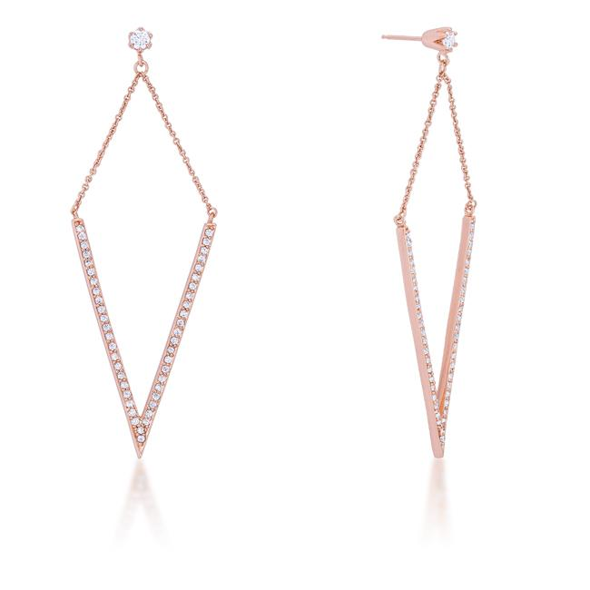 Michelle 1.2ct CZ Rose Gold Delicate Pointed Drop Earrings