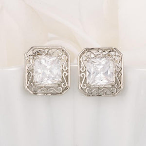 Antique Princess Cut Clear CZ Earrings