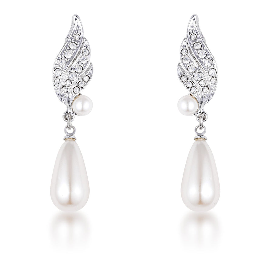 Rhodium Plated Simulated Pearl and Crystal Bridal Drop Earrings