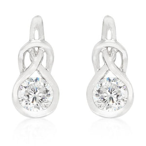 Solitaire Bezel Set Cubic Zirconia Earrings