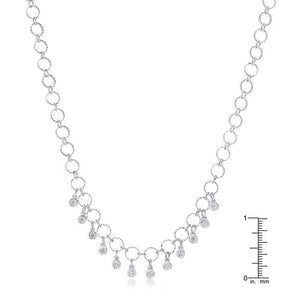 1.32 Ct Stunning Rhodium Necklace with CZ Charms