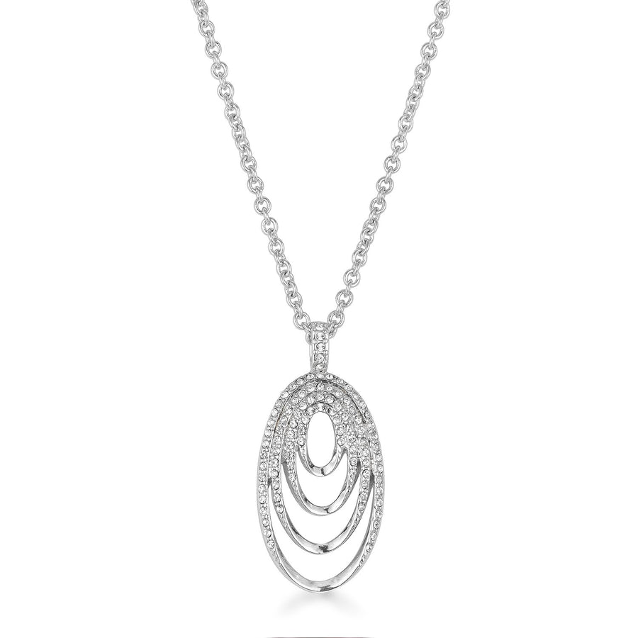 Rhodium Plated Multi Ring Elegant Oval Clear Crystal Necklace