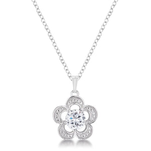 7mm Floral Cubic Zirconia Fashion Pendant