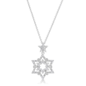 Stella 0.3ct CZ Rhodium Star Drop Necklace