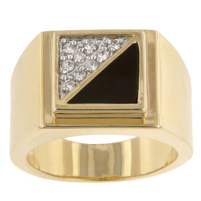 Goldtone Onyx Masonic Ring with CZ Accents