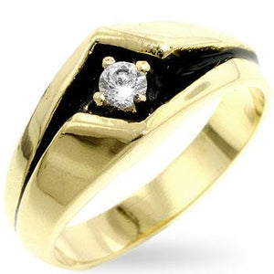 Cubic Zirconia Two-Tone Mens Ring