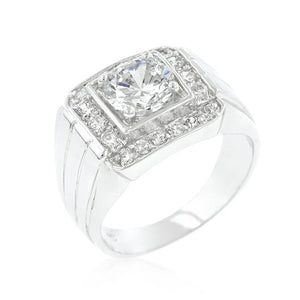 Mens Two-tone Finish Cubic Zirconia Ring