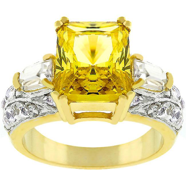 Yellow Cubic Zirconia Cocktail Ring