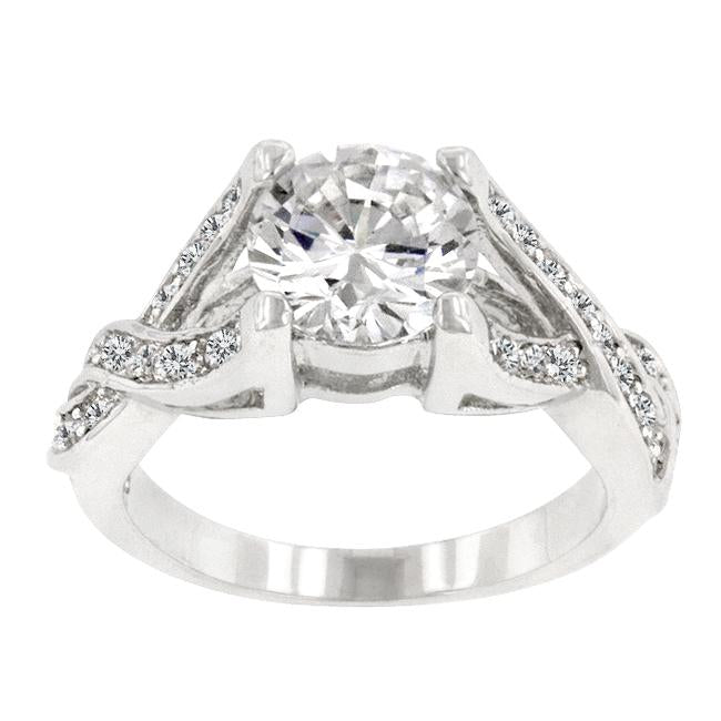 Rhodium Plated Marquise Centerpiece Ring