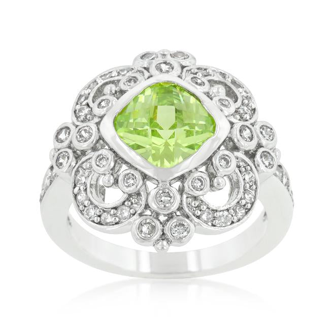 Rhodium Plated Green Cocktail Ring