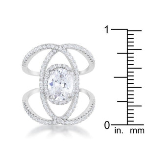 Bella 2.3ct CZ Rhodium Contemporary Cocktail Ring