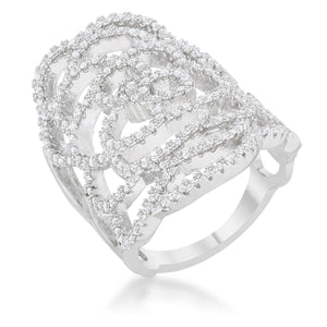 Vera 1.42ct CZ Rhodium Vintage Inspired Cocktail Ring