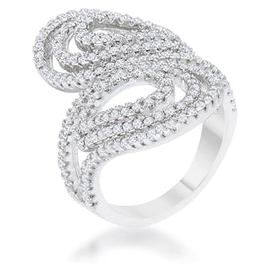 Rosa 1.25ct CZ Rhodium Filigree Cocktail Ring