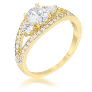 0.11ct CZ Rhodium Plated Classic Band Ring With Round Cut Cubic Zirconia In A Pave Setting